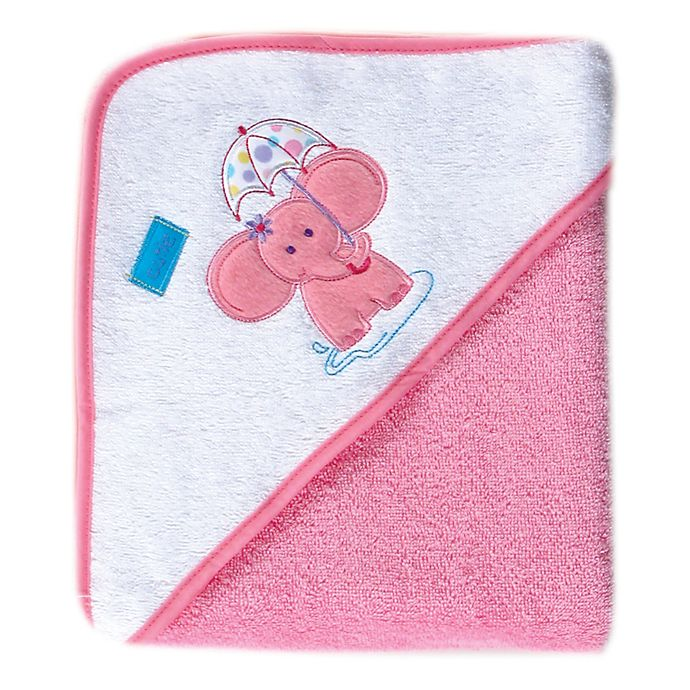 Alternate image 1 for Luvable Friends® Elephant Woven Hooded Towel in Pink