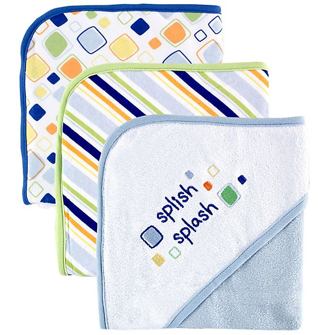 Alternate image 1 for Luvable Friends® 3-Pack Embroidered Hooded Towels in Blue