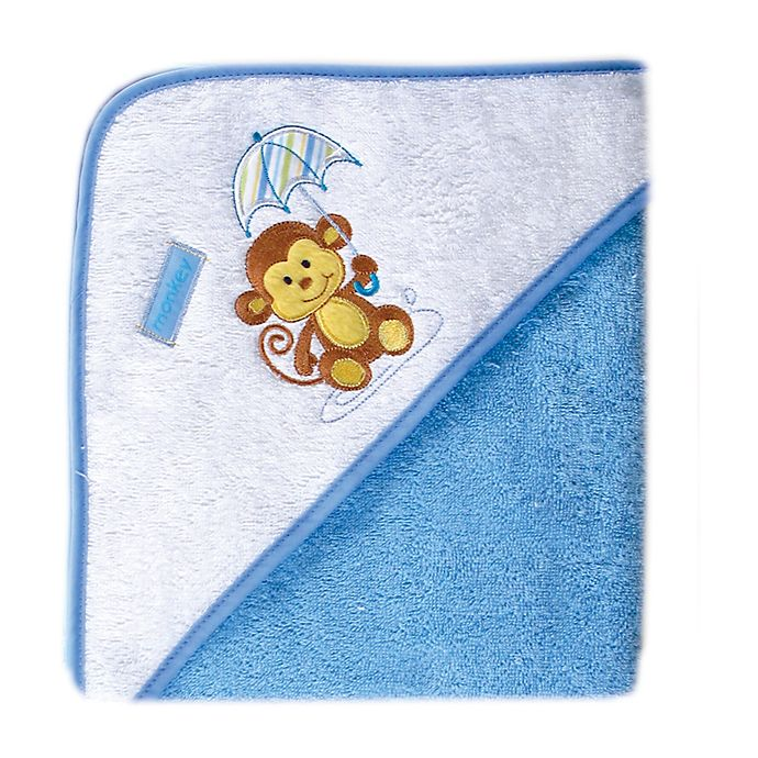 Alternate image 1 for Luvable Friends® Monkey Woven Hooded Towel in Blue
