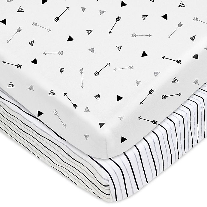 Alternate image 1 for TL Care® 2-Pack Arrow and Stripe Fitted Cotton Playard Sheets in Silver/Black