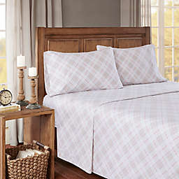 True North by Sleep Philosophy Cozy Flannel Plaid King Sheet Set in Pink