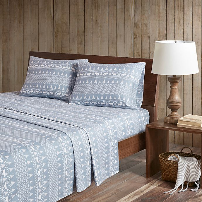 Alternate image 1 for Woolrich® Winter Frost Cotton Flannel California King Sheet Set in Blue