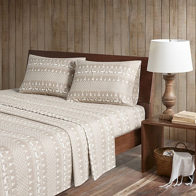 Alternate image 1 for Woolrich® Winter Frost Cotton Flannel Queen Sheet Set in Tan