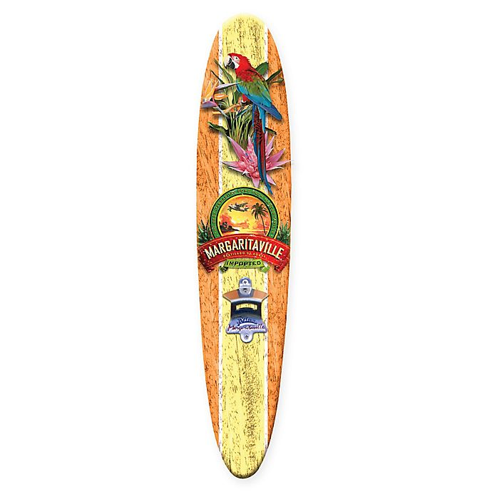 Alternate image 1 for Margaritaville® Tequila Surfboard 10.5-Inch x 26-Inch Wall Art with Bottle Opener in Yellow