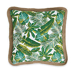 Palm Frond Tropical Square Outdoor Throw Pillow in Green