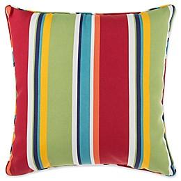 Brandy Stripe 17-Inch Square Throw Pillow in Cherry