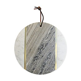 American Atelier Marble and Brass Serving Board in Beige/White