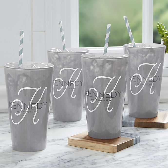 Alternate image 1 for Initial Accent 16 oz. Printed Drinking Glass