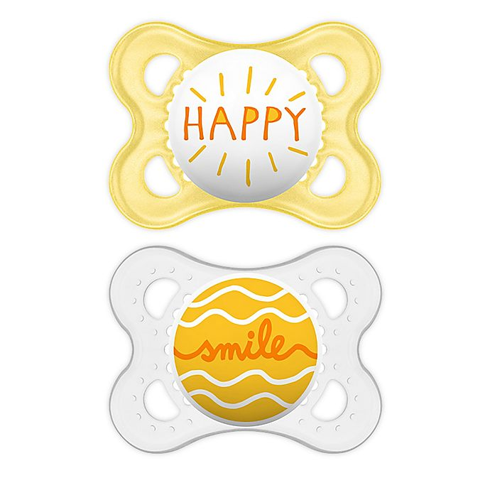 Alternate image 1 for MAM Attitude 0-6 Months Orthodontic Pacifiers in Grey/Yellow (Set of 2)