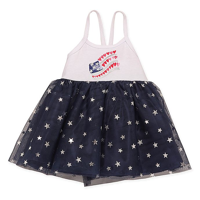 7556f22a2f Baby Starters® Glitter Flag Dress in Navy