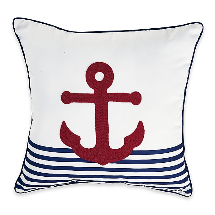 Alternate image 1 for Destination Summer Anchor Stripe Square Outdoor Throw Pillow in Red