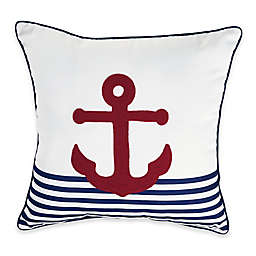 Destination Summer Anchor Stripe Square Outdoor Throw Pillow in Red