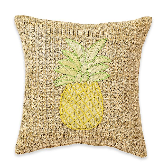 Alternate image 1 for Destination Summer Pineapple Woven Square Outdoor Throw Pillow in Yellow