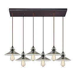 ELK Lighting Hammered Shade 6-Light Pendant in Oil Rubbed Bronze with Smoke Shades