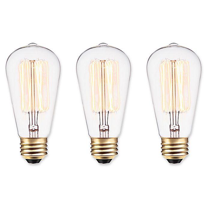 Alternate image 1 for Globe Electric 3-Pack Vintage Edison 60-Watt E26 Bulb