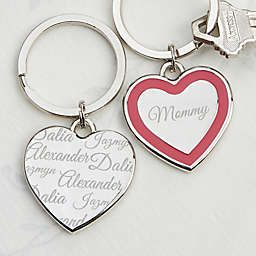 Loved By Mom Heart Keychain