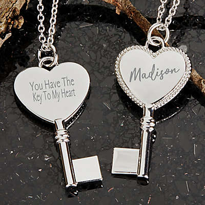 Key To My Heart Engraved Pendant Necklace