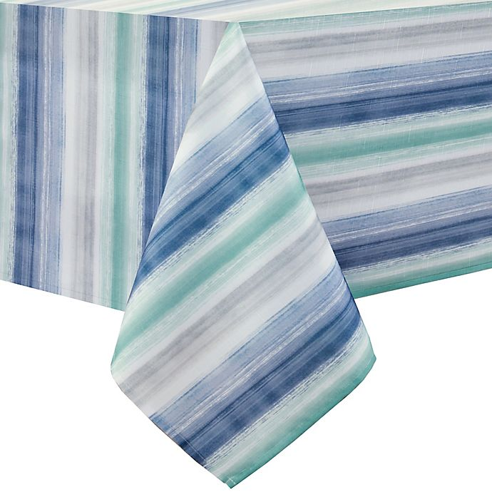 Alternate image 1 for Colordrift Painted Stripe 52-Inch x 70-Inch Oblong Tablecloth