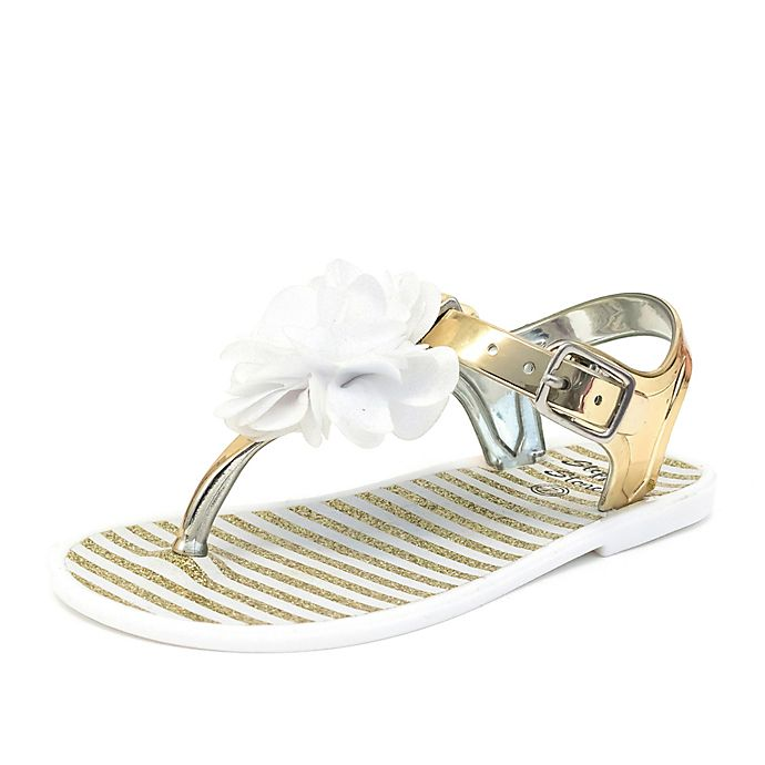 3157da953dd5f0 Stepping Stones High Shine Jelly Sandal with Lycra Flower in Gold White