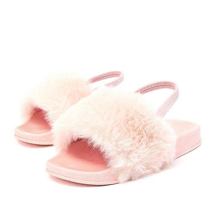 0313e4fcadd030 Stepping Stones Toddler Faux Fur Slide Sandal in Pink
