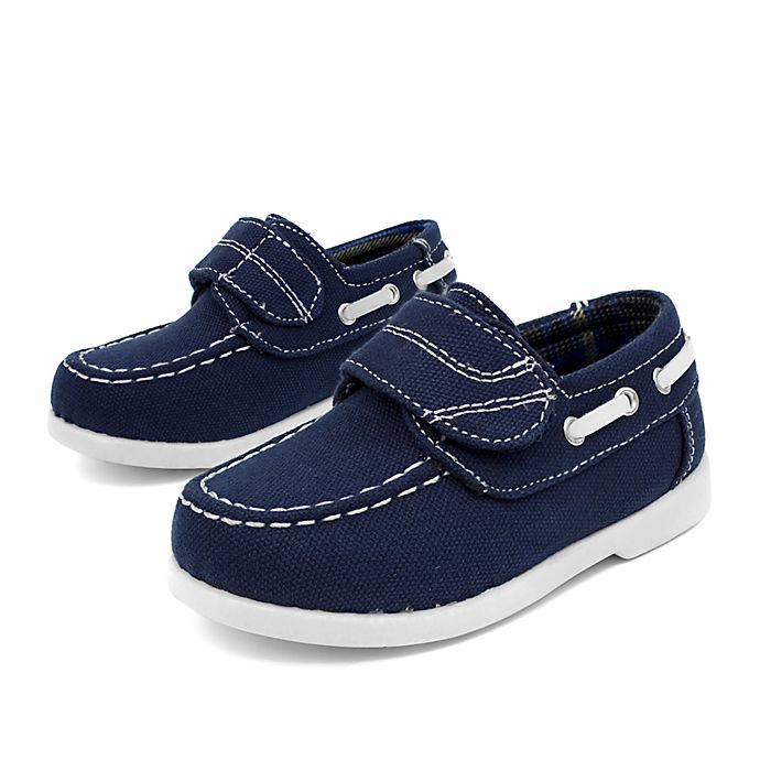 Alternate image 1 for Stepping Stones Casual Canvas Boat Shoe in Navy
