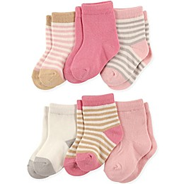 Touched by Nature 6-Pack Girls Organic Cotton Socks in Pink