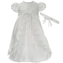 Lauren Madison Split Front Christening Dress with Matching Headband