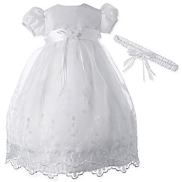 Lauren Madison 2-Piece Sheer Taffeta Christening Dress and Headband Set