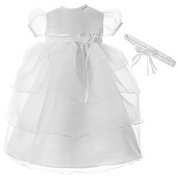 Lauren Madison Multi-Tiered Christening Dress with Matching Headband