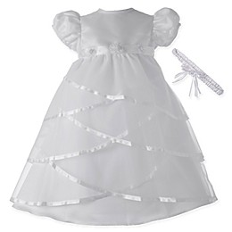 Lauren Madison Sheer Criss Cross Christening Dress with Matching Headband