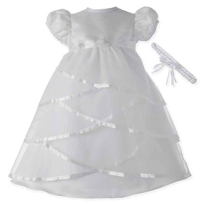 c3c08a246 Lauren Madison Sheer Criss Cross Christening Dress with Matching Headband