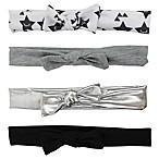 Tiny Treasures™ 4-Pack Novelty Mini Knot Headbands in Black/White/Grey