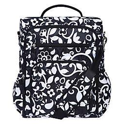 French Bull® Vine Condensed Convertible Backpack Diaper Bag in Black/White