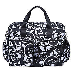 French Bull® Vine Deluxe Duffle Diaper Bag in Black/White