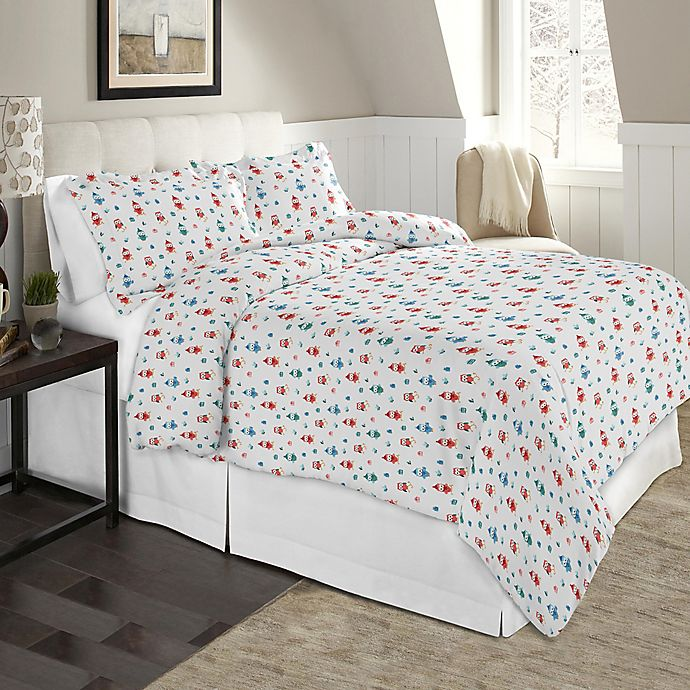 Alternate image 1 for Pointehaven Winter Owls 2-Piece Twin/Twin XL Flannel Duvet Cover Set in Brown/Multi