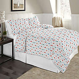 Pointehaven Winter Owls 2-Piece Twin/Twin XL Flannel Duvet Cover Set in Brown/Multi