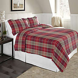 Pointehaven Plaid 2-Piece Twin/Twin XL Flannel Duvet Cover Set in Red/Brown