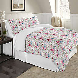 Pointehaven Soft Floral 2-Piece Twin/Twin XL Flannel Duvet Cover Set in Red/Blue
