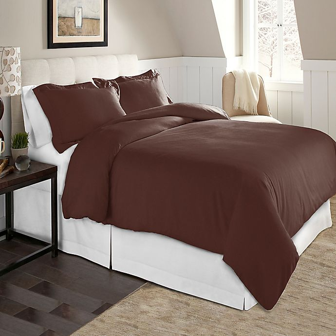 Alternate image 1 for Pointehaven Solid 2-Piece Twin/Twin XL Flannel Duvet Cover Set in Chestnut