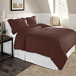 Pointehaven Solid 2-Piece Twin/Twin XL Flannel Duvet Cover Set in Chestnut
