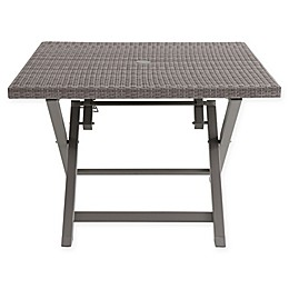 Wicker 4-Person Square Folding Table in Oyster