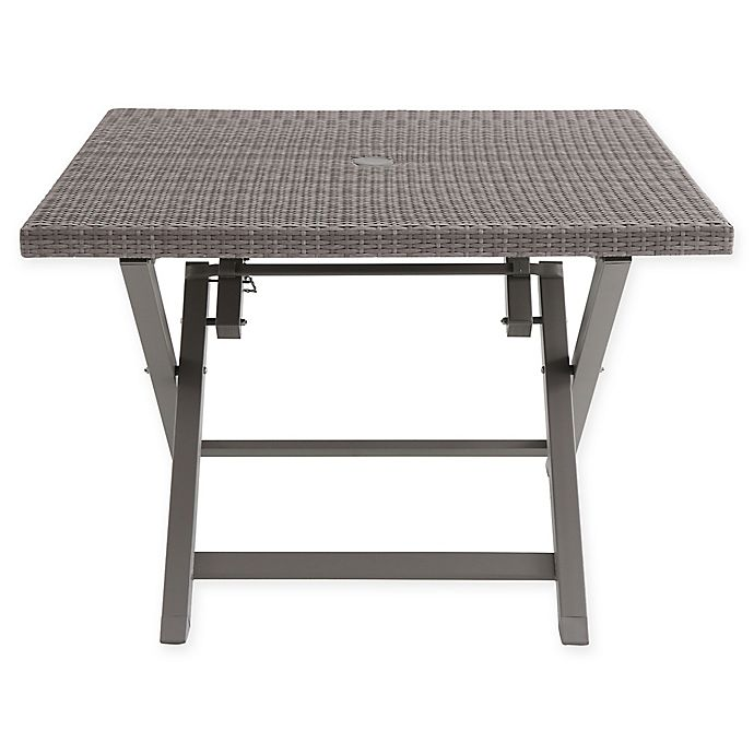 Awe Inspiring Wicker 4 Person Square Folding Table In Oyster Bed Bath Cjindustries Chair Design For Home Cjindustriesco