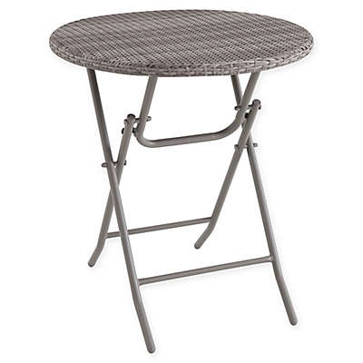 Barrington Folding Wicker Bistro Table in Brown