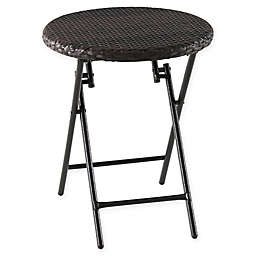 Barrington Wicker Round All-Weather Folding Accent Table