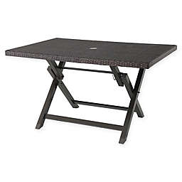 Barrington 6-Person All-Weather Wicker Folding Dining Table