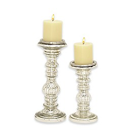 Ridge Road Décor 2-Piece Fluted Glass Candle Holder Set in Silver