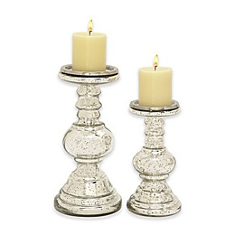 Ridge Road Décor 2-Piece Ball Column Glass Candle Holder Set in Silver