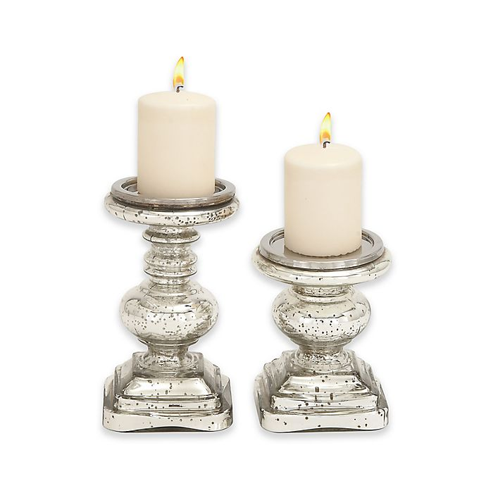 Alternate image 1 for Ridge Road Décor 2-Piece Pitted Glass Candle Holder Set in Silver
