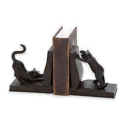 Ridge Road Décor Cat on Book 2-Piece Bookend Set in Black