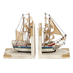 Ridge Road Décor Ship 2-Piece Wood Bookend Set in White